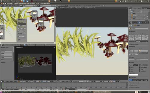 Cartoon forest grass and mushrooms  preview image