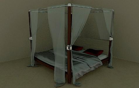 Bed in solid wood with curtains preview image
