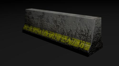 Low Poly Worn Construction Barrier  preview image