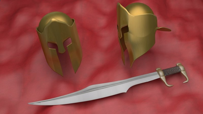 spartan helmet and sword preview image 1