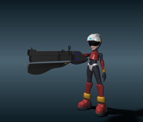 RoboGirl with Gun Completely Rigged preview image