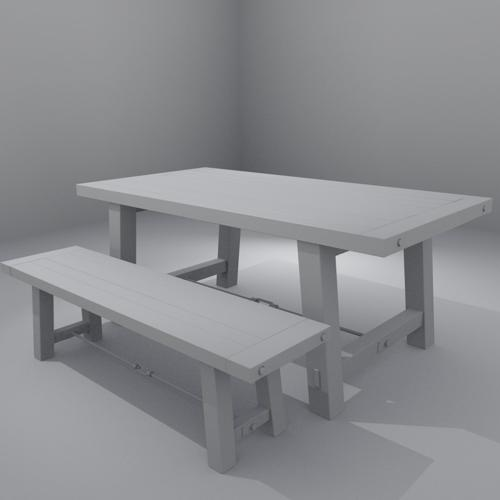 Rustic Table and Bench bnwr preview image
