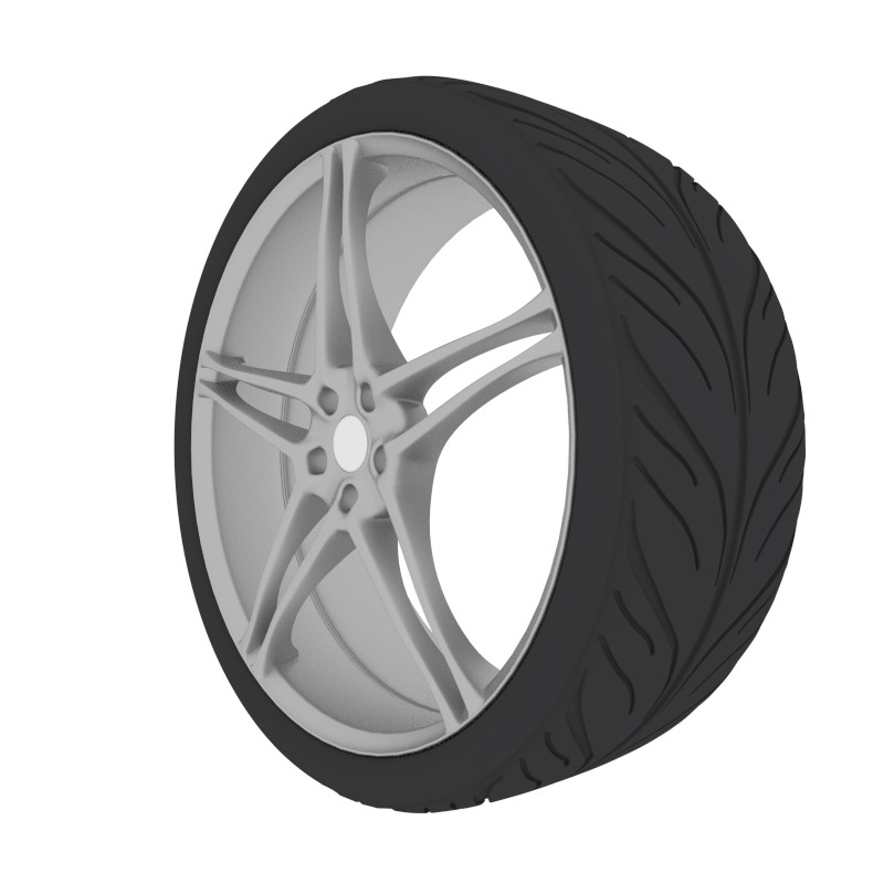 Aluminium car wheel with tire preview image 1