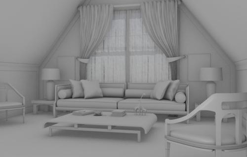 Modelling an Interior Scene with Blender: Modeling Result preview image