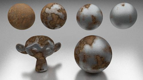 Rusty Metal cycles semi-procedural shader preview image