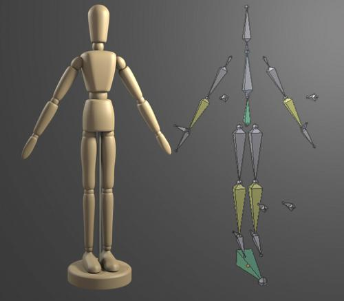 Rigged Wooden Mannequin preview image