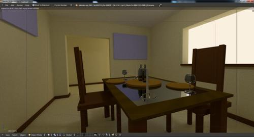 Table and Chairs in a Room cycles Engine  preview image