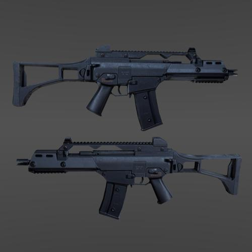 Low poly G36c + 2k texture preview image