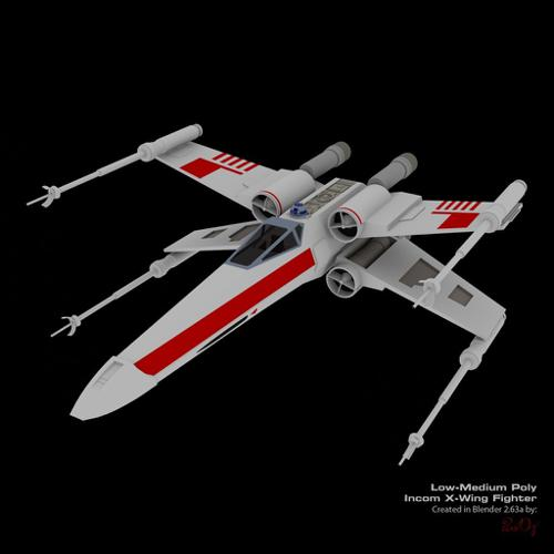 X-Wing Fighter Low Poly 3D Model Untextured preview image