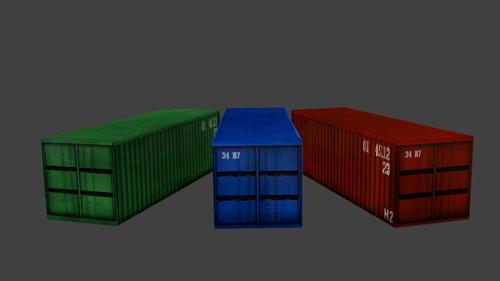 Low Poly Shipping Containers preview image