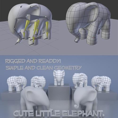 Cute Little Elephant model  Rigged and readdy  preview image