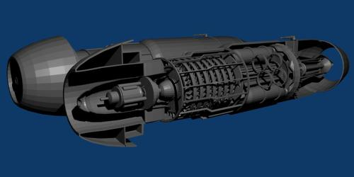 Jumo 004 jet engine  low poly preview image