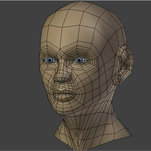 Female Head-relatively low poly preview image
