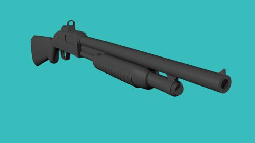 Low Poly Shotgun untextured preview image
