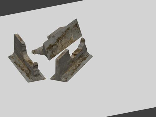 Damaged concrete barrier  Poly count in desc  preview image