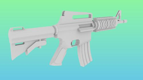 M4A1 assult rifle low poly preview image