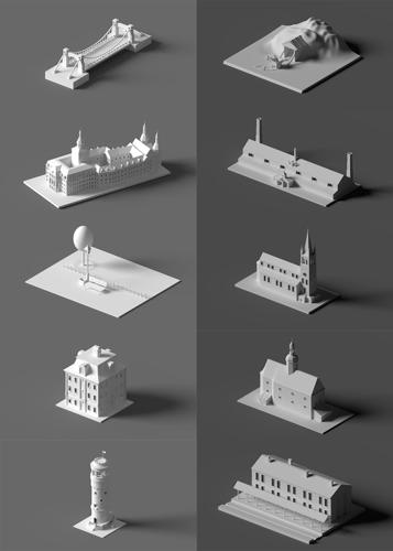 Low poly buildings collection preview image