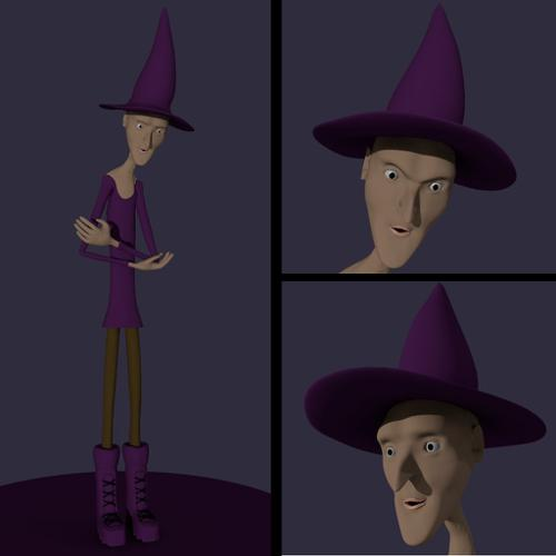Cartoonish Witch Character with Rig preview image
