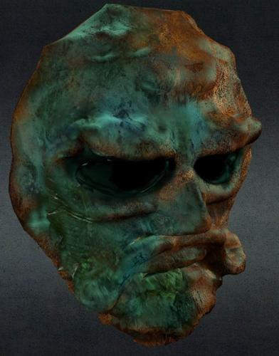 old corroded  bronze mask preview image
