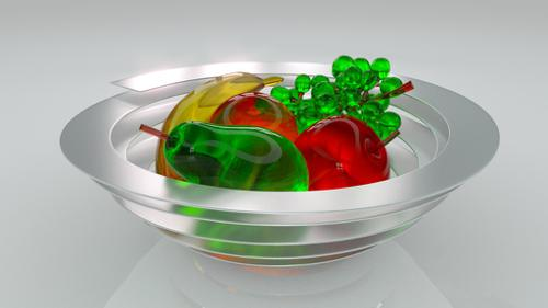Glass fruits in a bowl preview image