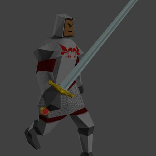 Low Poly Knight with sword preview image