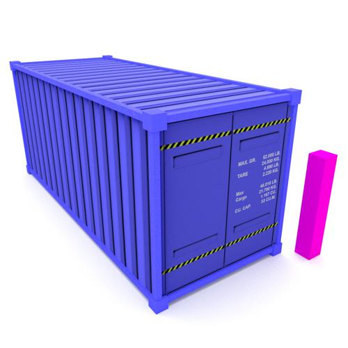 Low poly shipping container (cycles) preview image