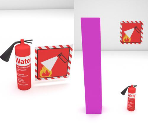 Low poly fire extinguisher with sign (cycles) preview image