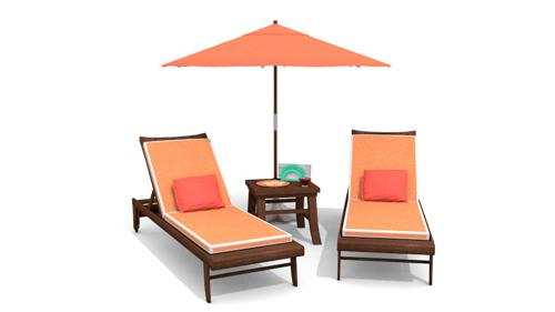 Lounge Chairs, Table, and umbrella  preview image