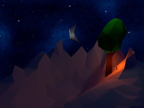Low-Poly tree at night preview image