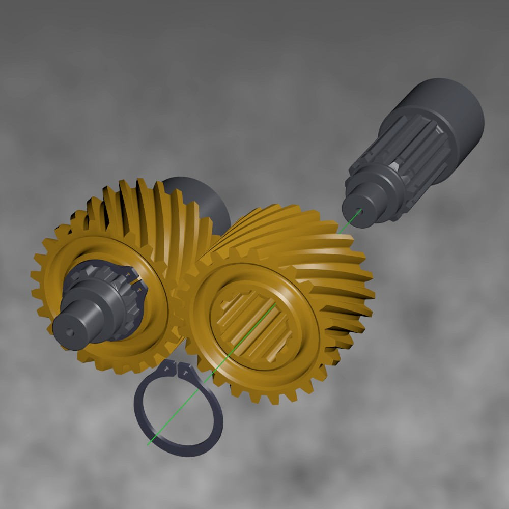 Helical gears with splined hubs preview image 1