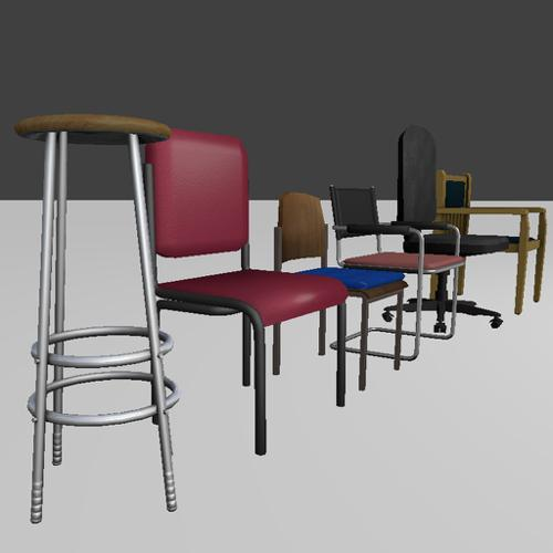 Low-Poly-Chair-Set preview image