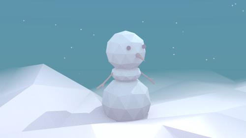 Low-poly style snowman preview image