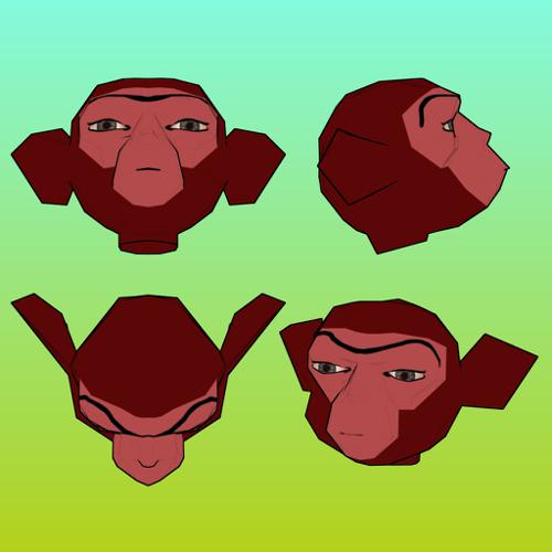 Monkey-head-for-papercraft preview image