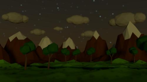 Low Poly Mountain Scene preview image