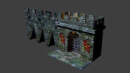 Medeval Gastle Gate And Wall Section preview image