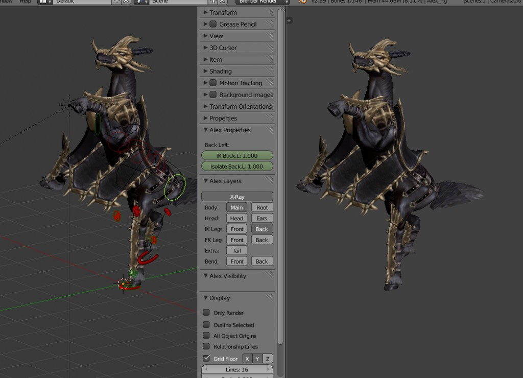 Knight Horse (remeshed, rigged, with actions) preview image 1