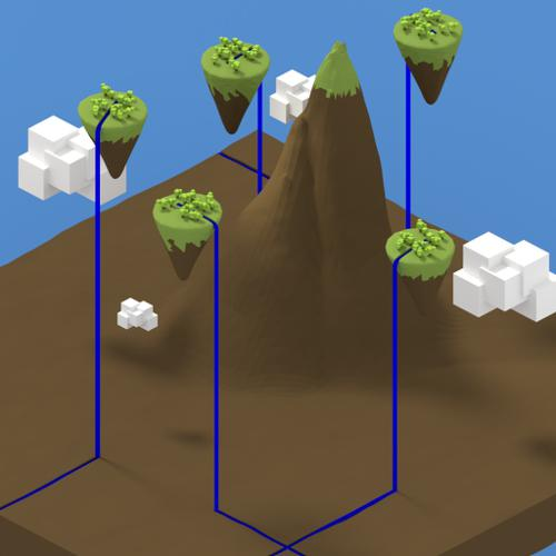 Low Poly Floating Islands over Mountain preview image