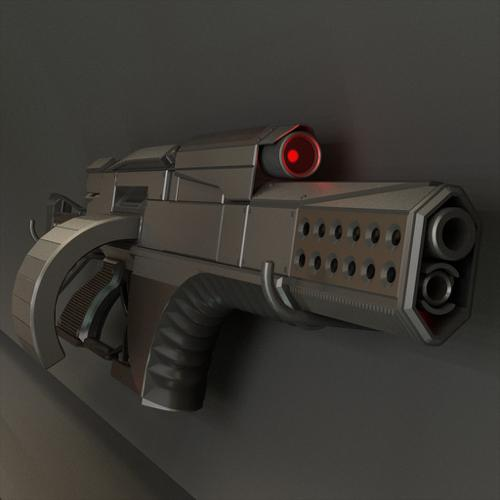 Futuristic Weapon Concept High-poly preview image