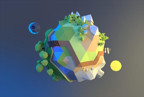 Low poly tiny planet preview image