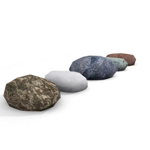 Low Poly Rock Set (5 different rocks) preview image