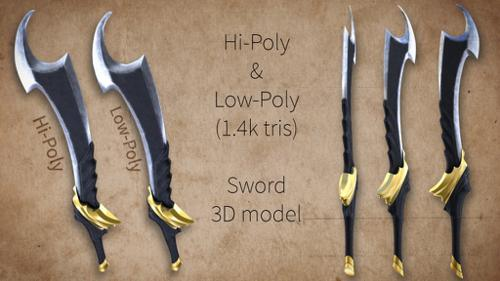 Low Poly & Hi Poly Sword preview image