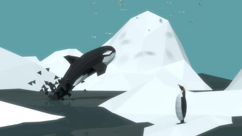 Low-poly Iceberg, whale and penguins preview image