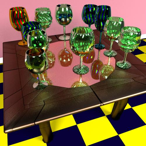 End Table with wine Glass set preview image