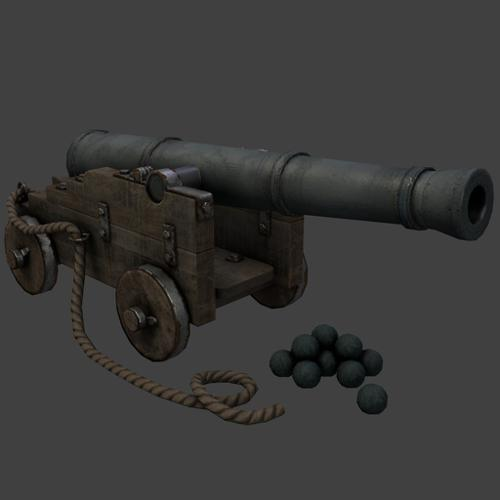 Pirates Cannon (Low Poly +LoDs) preview image