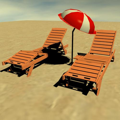 Beach relaxing chairs and beach umbrella preview image