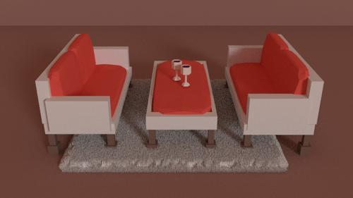 Couch and Wine (Low-Poly) preview image