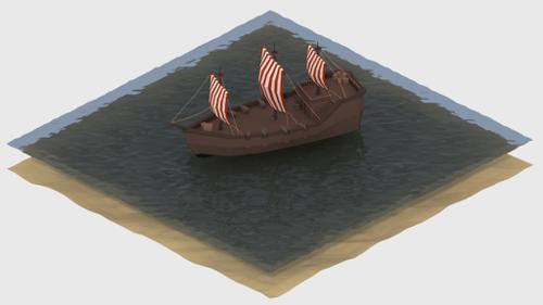 Low poly Pirate ship preview image