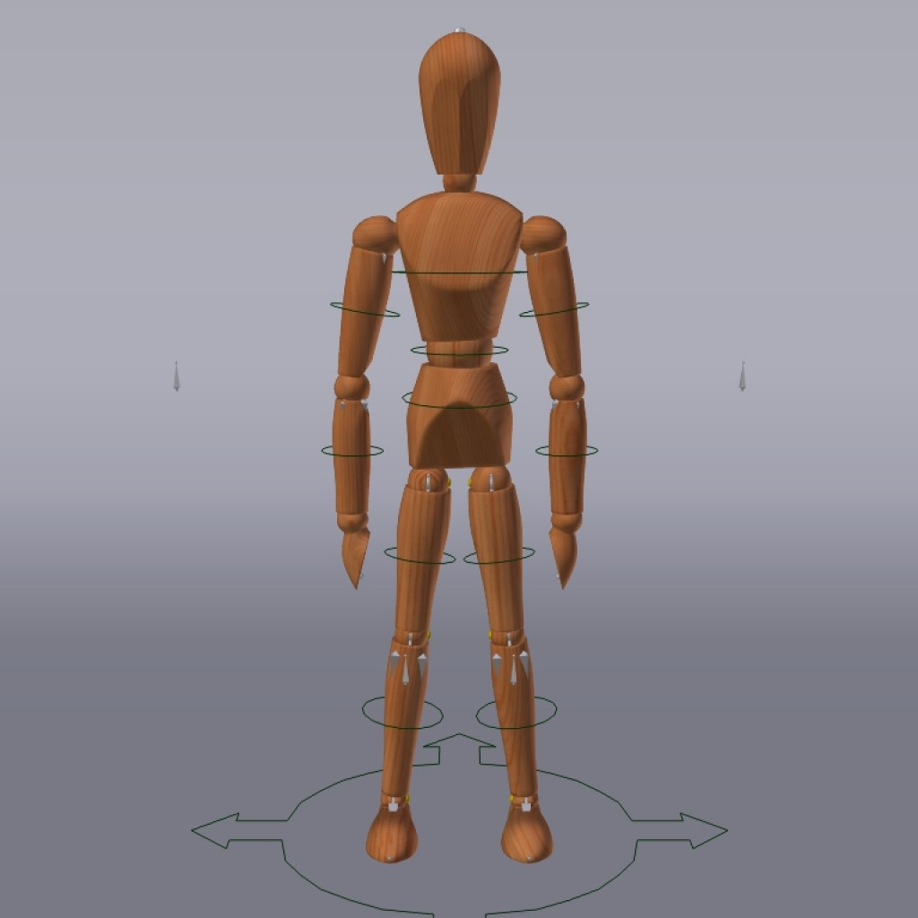 Wooden mannequin - Rigged preview image 2