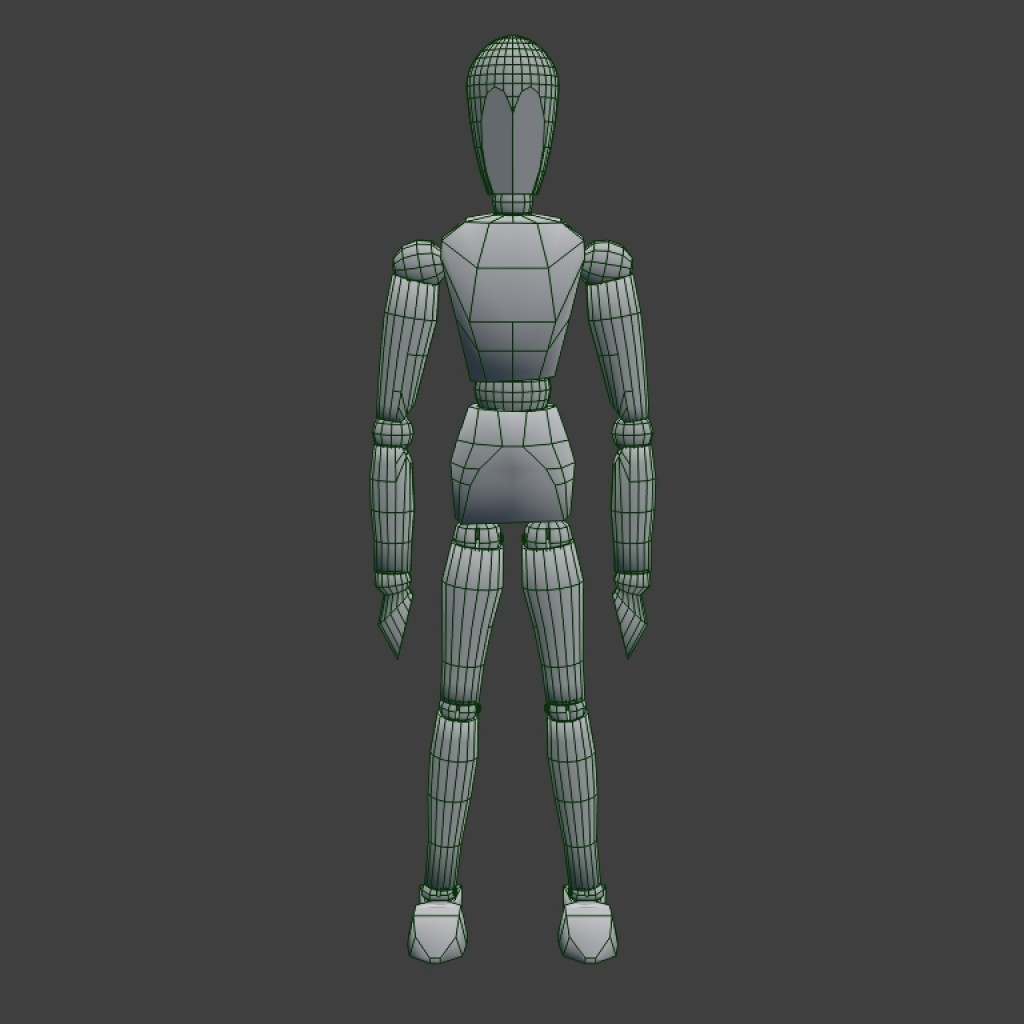 Wooden mannequin - Rigged preview image 3