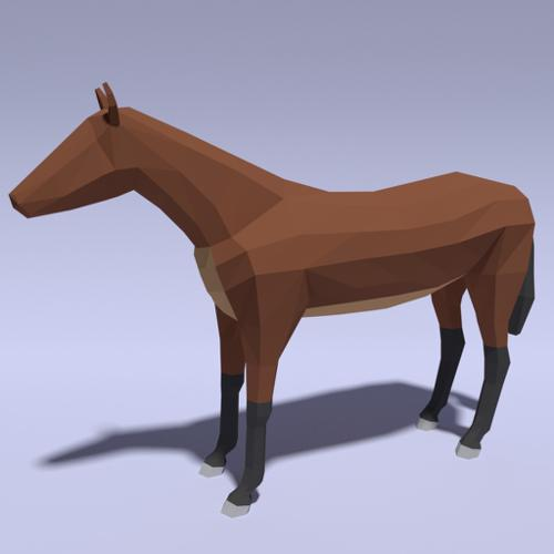 Low Poly Rigged Horse Model for Video Games preview image